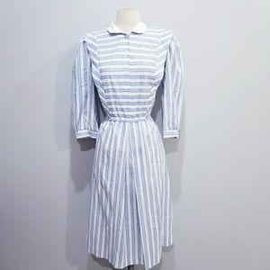 Vintage 80's retro stripe Periwinkle dress